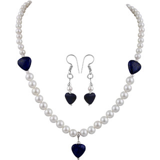 Pearlz Ocean Shell Pearl And Dyed Lapis Lazuli Necklace Set