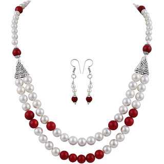 Pearlz Ocean White Shell Pearl And Dyed Red Coral Necklace Set