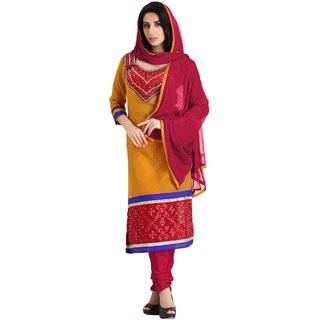 Florence Orange kitti Party Chanderi Cotton Embroidered Suit (SB-2559) (Unstitched)
