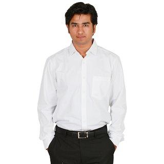 Men's White Solid Cotton Shirt