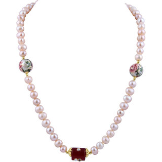 Pearlz Ocean Fresh Water Pearl And Red Jade 18 Inch Necklace Set For Girls