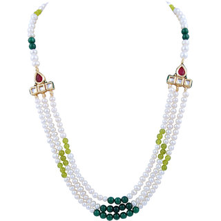 Pearlz Ocean Fresh Water Pearl And Jade Gemstone Beads 18 Inch Necklace Set For Women