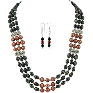 Pearlz Ocean Dyed Black And Coffee Color Fresh Water Pearl Necklace Set