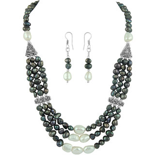 Pearlz Ocean Exotic Three Strands Pearl Necklace Set