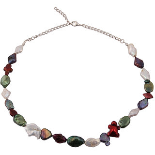 Pearlz Ocean  Colour Ballard Dyed Multi Fresh Water Pearl 18 Inches Necklace