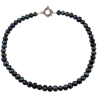 Pearlz Ocean Blu Belle Dyed Mystic Color Fresh Water Pearl 18 Inches Necklace
