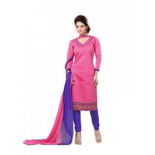 Sareemall Khaki Polycotton Lace Salwar Suit Dress Material (Unstitched)