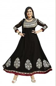Silkbazar Pretty Embrodried Black Anarkali Dress Material (SB-1322) (Unstitched)