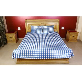 Kotton Blue And White Checkered Bed Cover