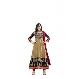 Florence Beige Cotton Lace Anarkali Suit Dress Material