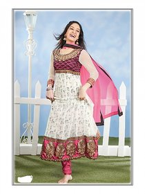 Florence Purple Cotton Lace Salwar Suit Dress Material (Unstitched)