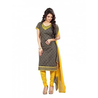 Sareemall Gold Polycotton Lace Salwar Suit Dress Material (Unstitched)