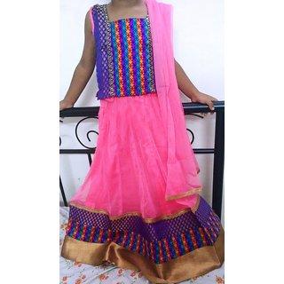 Bijou Kids Designer Lehenga Choli Set - Pink