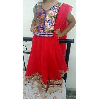 Bijou Kids Designer Lehenga Choli Set - Orange
