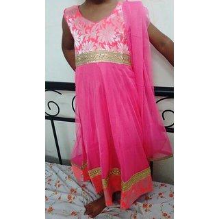 Bijou Kids Designer Anarkali Suit Set - Pink