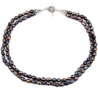 Pearlz Ocean Nightingale Dyed Black Fresh Water Pearl 18 Inch Necklace