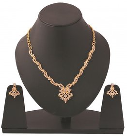 Touchstone Gold Plated Gold Alloy Necklace Set For Women