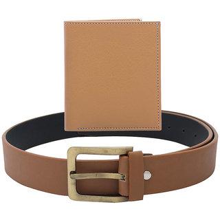 SkyWays Men's Belts  Wallet Combo (BLM-ANTQ-H-TAN-WLT-5-A)