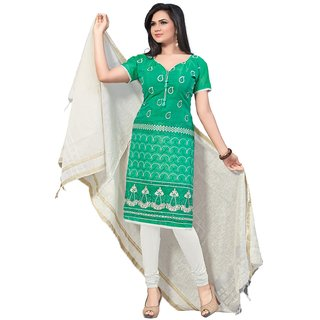 Florence Cream And Green Cotton Embroidered Salwar Suit Dress Material (Unstitched)