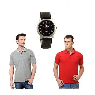 combo of lime two polo t-shirts red&grey and free watch