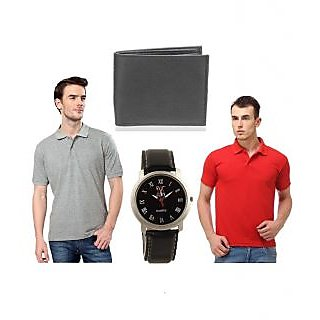 combo of lime two polo t-shirts red&grey and free watch & wallet