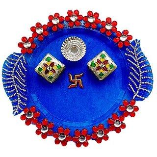Unique Arts Blue Acrylic unique shaped Puja thali