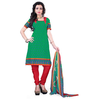 Surat Tex Green Color Casual Wear Printed Cotton Un-Stitched Dress Material
