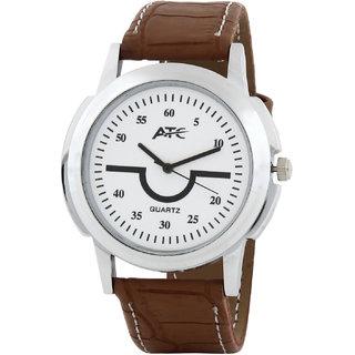 Atc Round Dial Brown Leather Strap Quartz Watch For Men