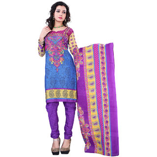 Surat Tex Blue Color Casual Wear Printed Cotton Un-Stitched Dress Material