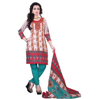 Surat Tex Cream Color Casual Wear Printed Cotton Un-Stitched Dress Material