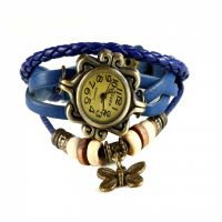 Rinoto Butterfly Fashion Bracelet Faux Leather Quartz Wrist Watch For Women