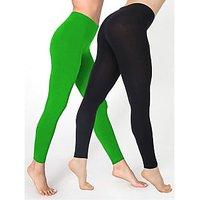 Cotton Lycra Leggings - Pack of 2 Black/Green