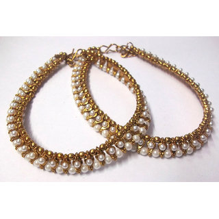 Golden pearl and pearl anklet