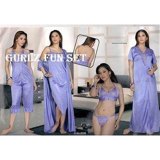 15c6ce4d53024 Womens 6p Sleep Wear Bra Panty Top Capri Nighty Over Coat 6036 Babydoll  Purple