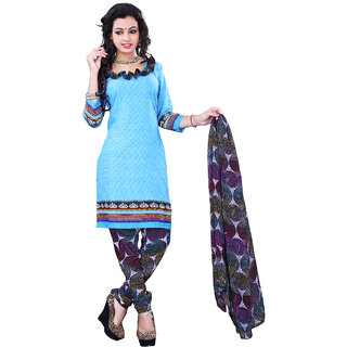 Surat Tex Sky Blue Color Casual Wear Printed Cotton Un-Stitched Salwar Suit