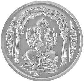 Shri Ganesha with Om Pure 999 Sterling Silver Coin 10 Grams