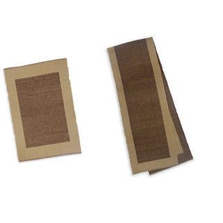 Dhrohar Cotton Brown Ribbed Table Runner and Place Mats - Set of 7