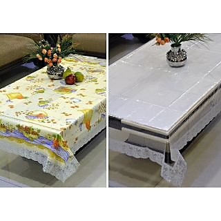 Freely Multicolor PVC Printed With Transprant Table Covers - 6 Seater - 157A-51A