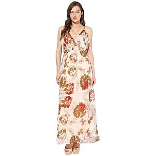 Rose Vanessa cream cherry flower strapy Maxi