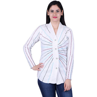 eWools Womens' Designer White Cardigan