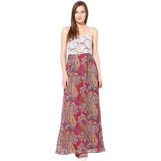 Rose Vanessa Paisley lace printed wine Maxi