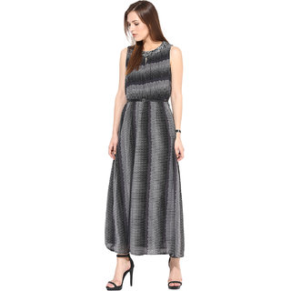 Rose Vanessa striped grey Embellished Maxi