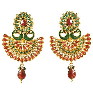 4cfdc130f Surat Diamond Traditional Peacock Shaped Red & Green Enamelled & Coloured  Stone Studded Gold Plated Copper Earrings PSE40