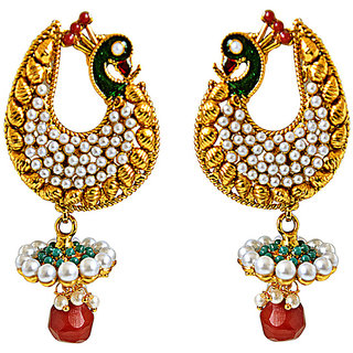 a6cbd1e3c Surat Diamond Traditional Peacock Shaped Red & Green Enamelled Fashion  Jewellery Gold Plated Earrings PSE43