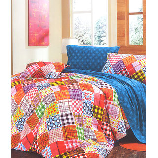 Valtellina Geometric Print 2 Single Bed Sheets With 2 Pillow Covers (PRF2S-12)