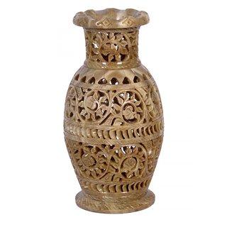 Avinash Handicrafts Soap Stone Multicolor Carved Flower Vase  8