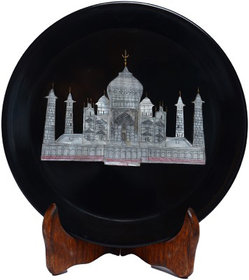 Avinash Handicrafts Black Stone Plate Taj Inlaid with velbate Box 6