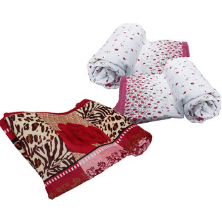 IndiWeaves Cotton Dohar/Ac Blanket  with Polyester Double Bed AC Mink Blanket- COMBO SET OF 2