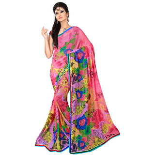 D R Fabrics Printed Pink Faux Georgette Casual Saree