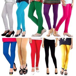 Viscose Multicolor Lycra Leggings For Women(Pack of 10)
